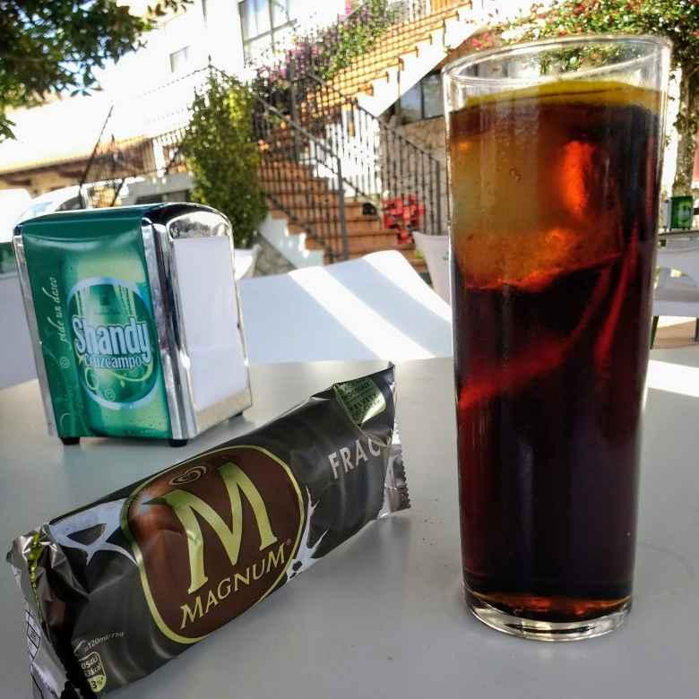 Magnum ice cream bar, Coke with lemon and ice, Galizano