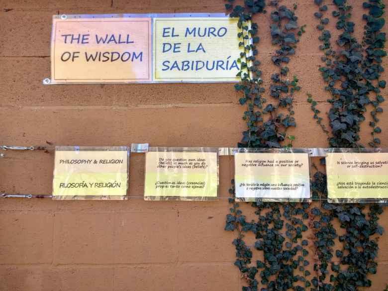 The Wall of Wisdom along the Camino Francés.