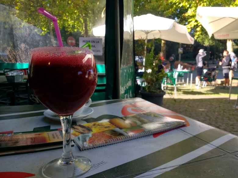 Tori and I stopped midway our hike on this day for drinks. I got this berry drink.