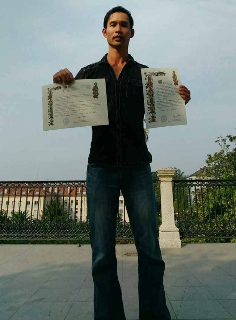 Felix Wong and his certificates of completion of the Camino de Santiago.