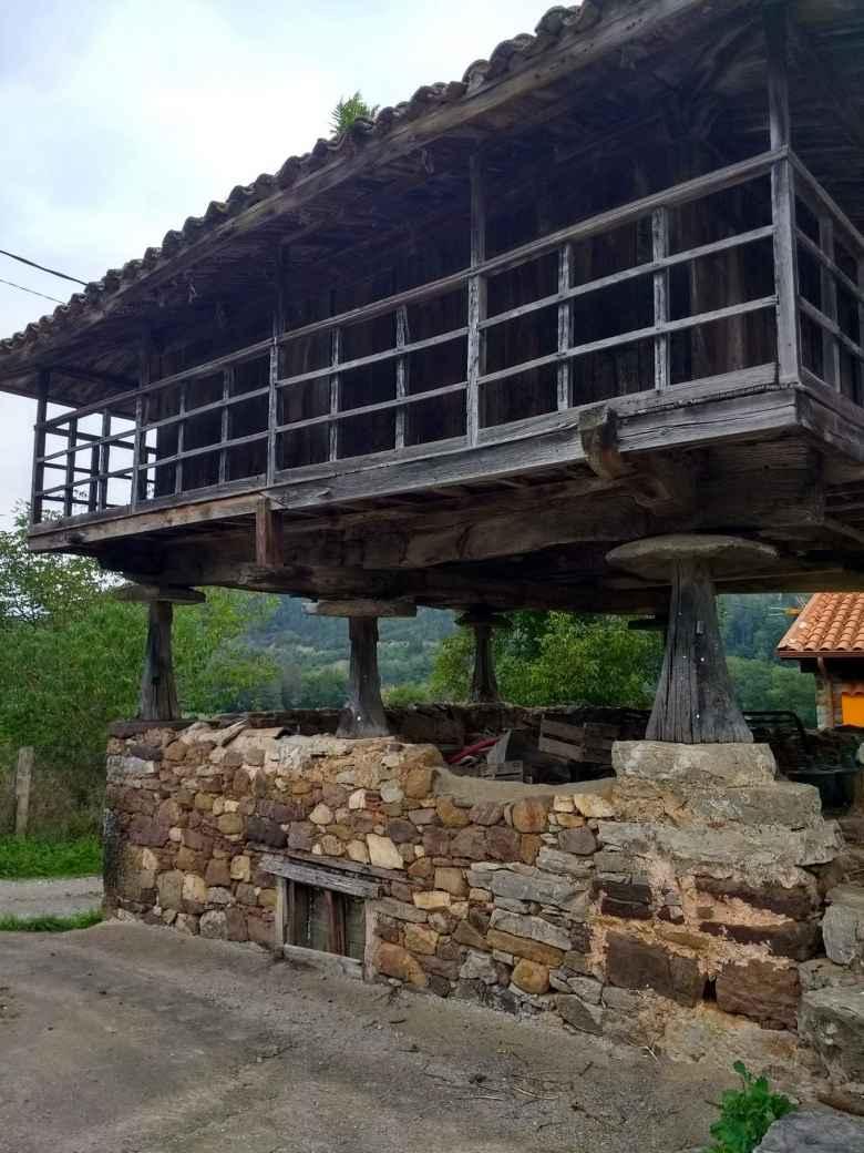 Lots of buildings were on stilts near Llamas, Spain.