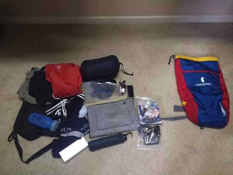 My gear for six weeks in Spain all fit into the blue and red 18L Cotopaxi bag at the right.
