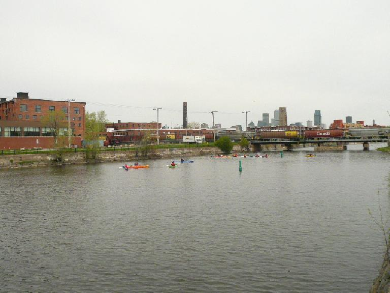 Kayakers in Le Canal de Lachine.