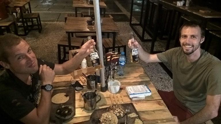 Christophe Capiaux, Alberto François, Corona beer, taquería at night, Cancún