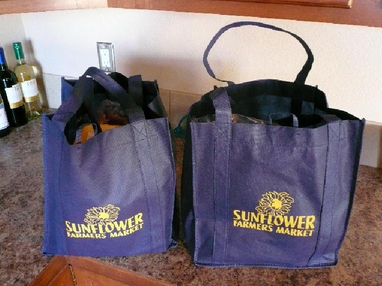 Canvas grocery bags.