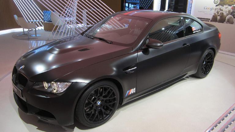 Matte-black BMW M3.