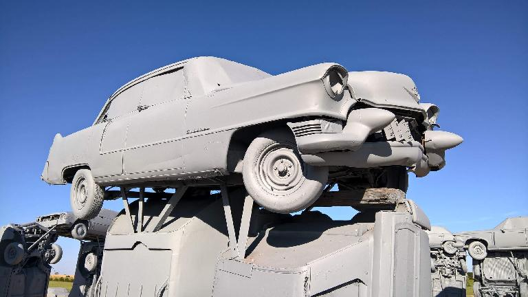 Grey Cadillac coupe at Carhenge.