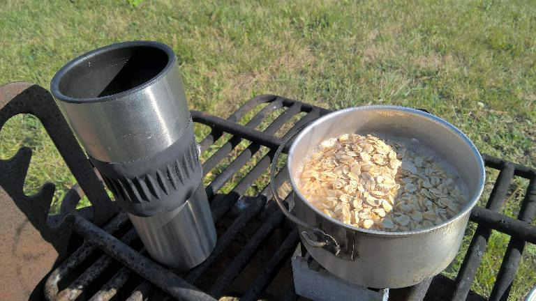 thermal cup, oatmeal in aluminum camping pot, Nesbitt stove