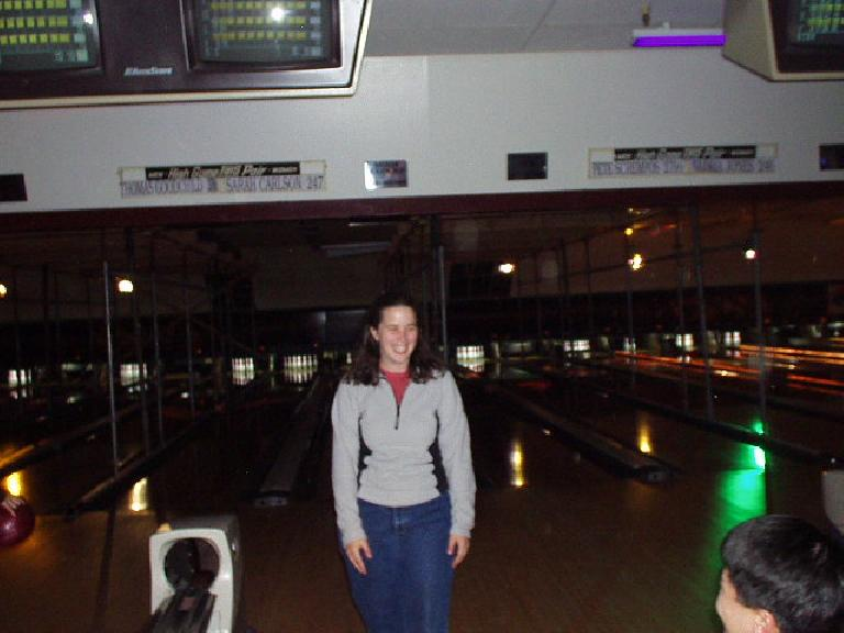Bowling with Aaron, Carolyn, Loren, and Suzie.  Here's Suzie!