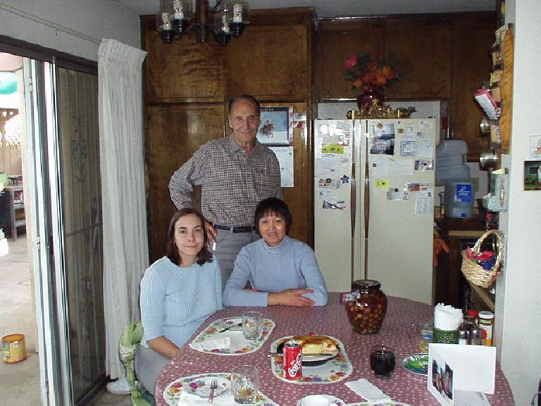 Carolyn with my good friends, Frank and Mila, in Stockton. (November 11, 2002)