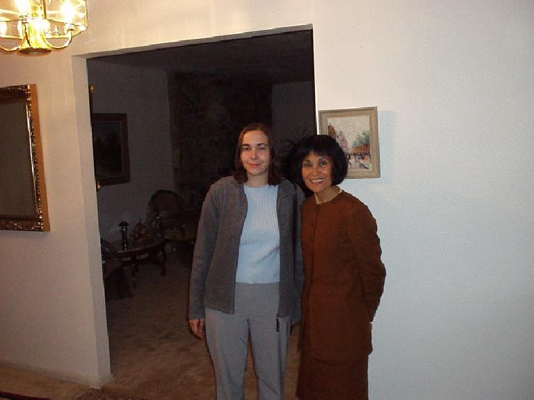 Carolyn with my mom after dinner. (November 11, 2002)