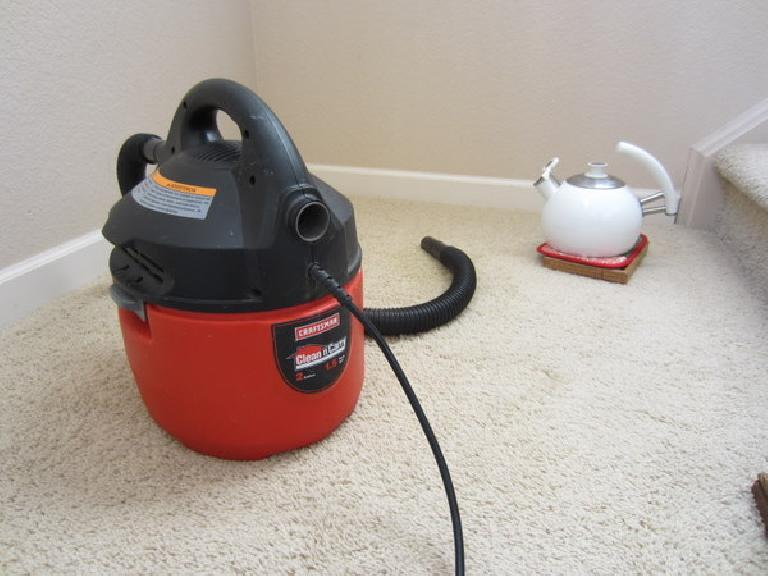 Spot carpet cleaning is simple, assuming you have a wet/dry vacuum and something to boil water in.