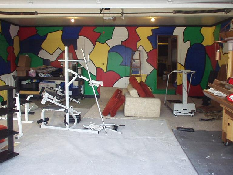 """Just wanted to show Ryan's garage.  She painted all of that herself (""""a color a day"""" she said)!  We moved at least 500 lbs. of stuff from her shed to the garage and vice versa."""