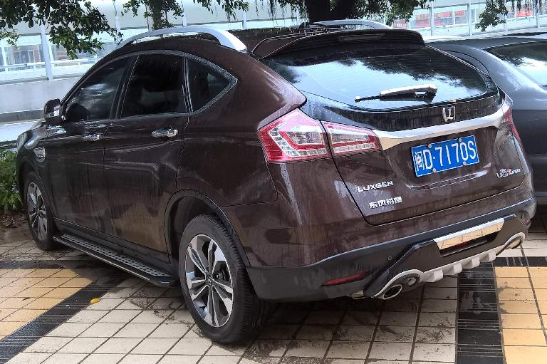This brown Luxgen7 SUV was built by Luxgen Motors, a Taiwanese automobile manufacturer founded in 2009. (April 15, 2016)