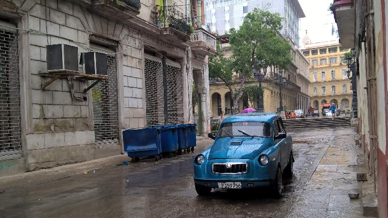 A custom blue Skoda coupe on the street where our casas particulares were on (one block north of Hotel Inglaterra).