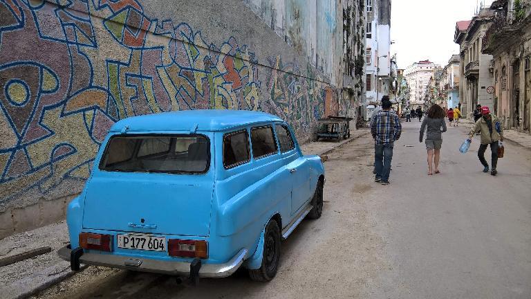 A powder blue three-door wagon in Havana, Cuba.