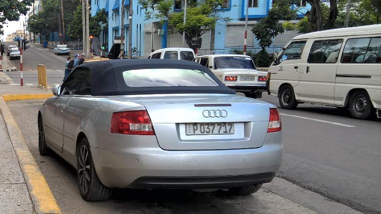 A newish silver Audi A5 Cabriolet in Havana, Cuba.