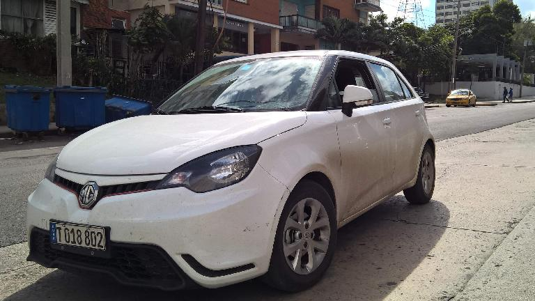 A white MG3 five-door hatchback in Havana, Cuba.
