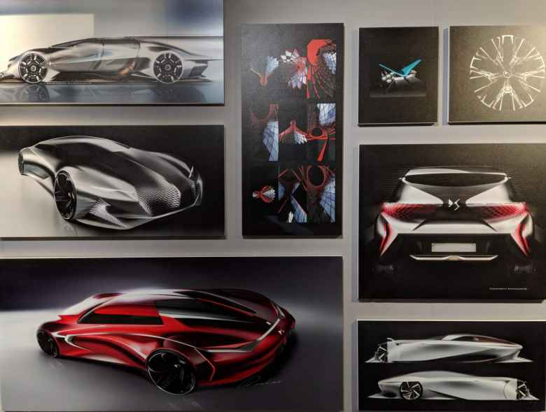 Concept car drawings inside the DS Automobiles showroom on Rue François 1er, a couple blocks off the Champs-Élysées.