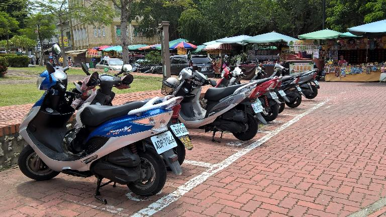 Scooters in Taoyuan, Taiwan. (April 27, 2016)