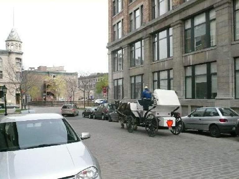 In Old Montreal, I was seeing these horse carriages about once a day.  Ok, they are mainly for tourists.