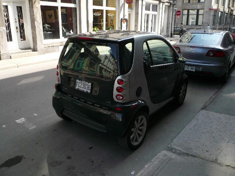 "In Montreal, there are a lot of Smart cars  which indeed are a ""smart"" choice for cities with limited parking."