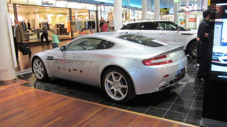 An Aston Martin inside the Copenhagen airport.
