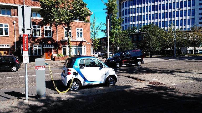 A Smart EV in Amsterdam.