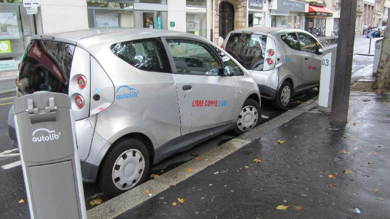 Autolib city cars, designed by Pininfarina, in Paris.