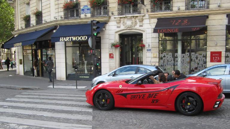 A Ferrari California that could be rented for 89 euros per 20 minutes in Paris.