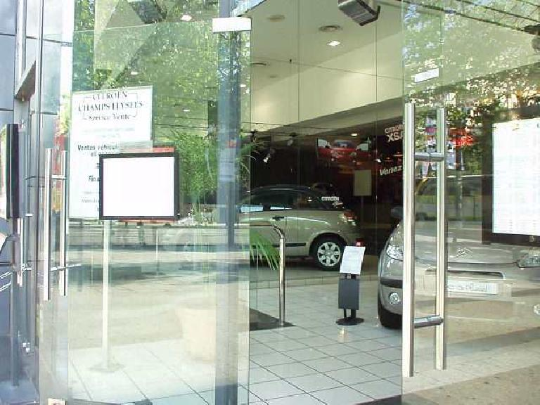 On the Champs Elysees, Citroen had a showroom, including a vehicle that looked like their answer to the VW Beetle. (August 24, 2003)