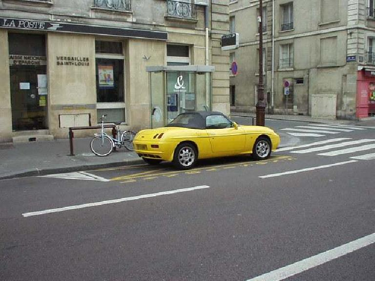 The Fiat Barchetta is a fetching Italian roadster that, alas, is front-wheel-drive but is very pretty. (August 17, 2003)