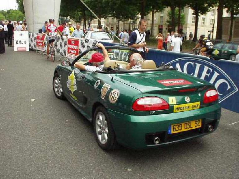 In front of L'Chateau d'Versailles, MG Rover was sponsoring a bicycle race!  Here's an MGF, one of the official race vehicles. (August 17, 2003)