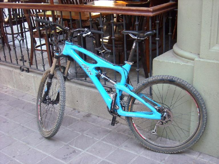 A nice Ibis mountain bike parked at the Z