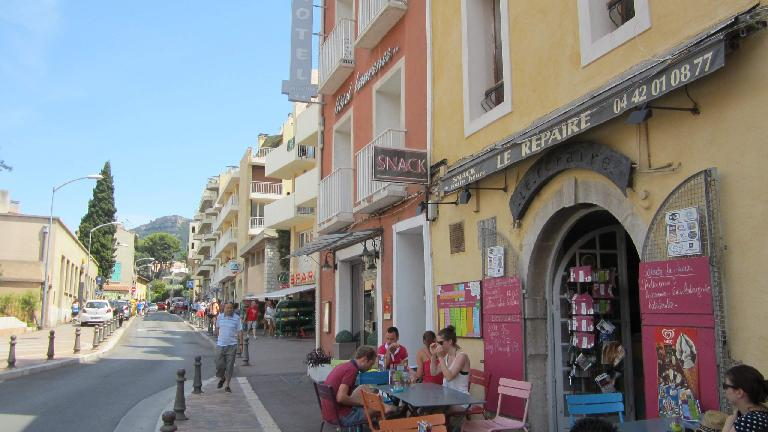 The town of Cassis near the beach had many colorful buildings.