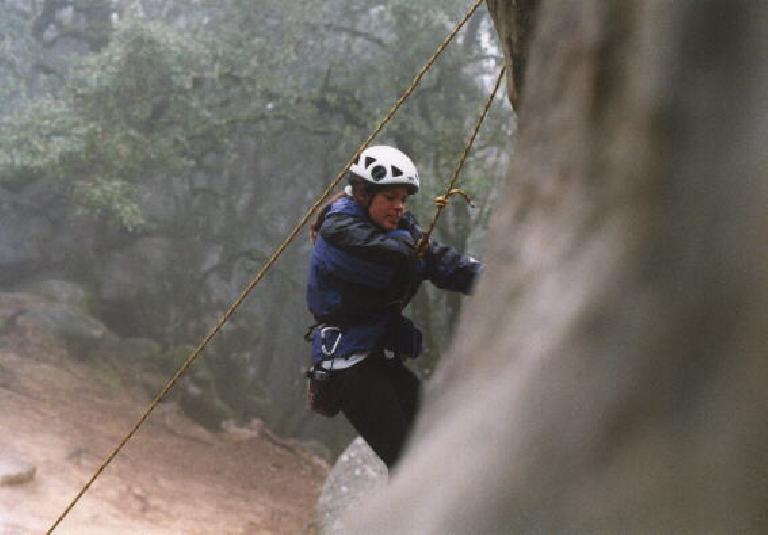 Adrienne on the rock. Go Adrienne! =)