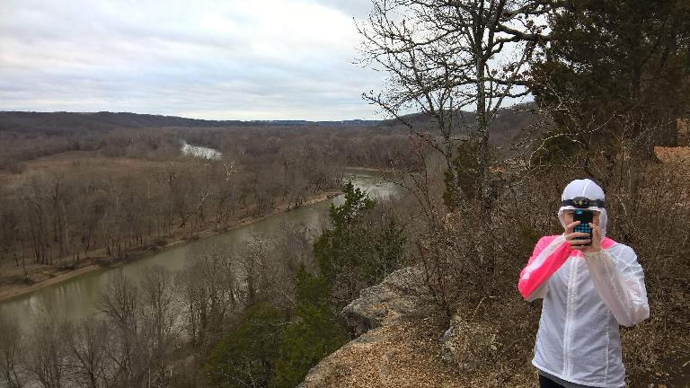 Meramec River, Maureen taking photo with iPhone 5c, Castlewood State Park