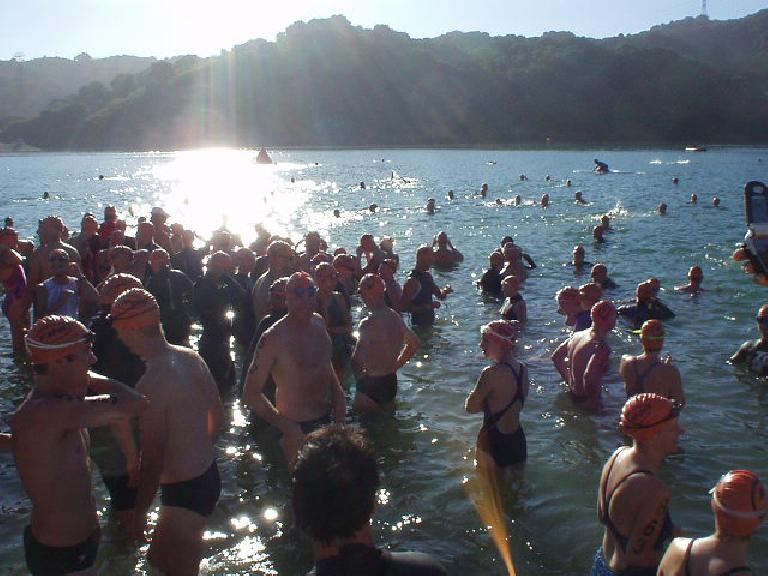 What happens when you open up the warm Stevens Creek Reservoir the only time this year for a swim meet?  You get a lot of near-naked people