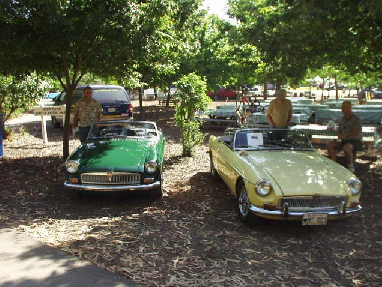 At the Ardenwood Celtic Festival in Fremont, the MGOC was invited to show their British cars.  Goldie was there, though we initially parked in the wrong spot and had to move.