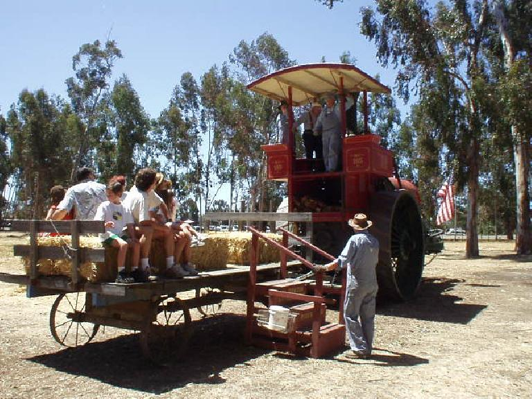 Here's a massive steam-powered farm tractor that used firewood as fuel.  We went for a ride.
