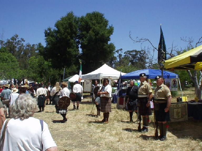 "Then we watched some Scotts and Irishmen in kilts do their thing while having lunch.  I had ""British Bangers"", which turned out to be a pork sausage with onions in a roll (like a hot dog)."