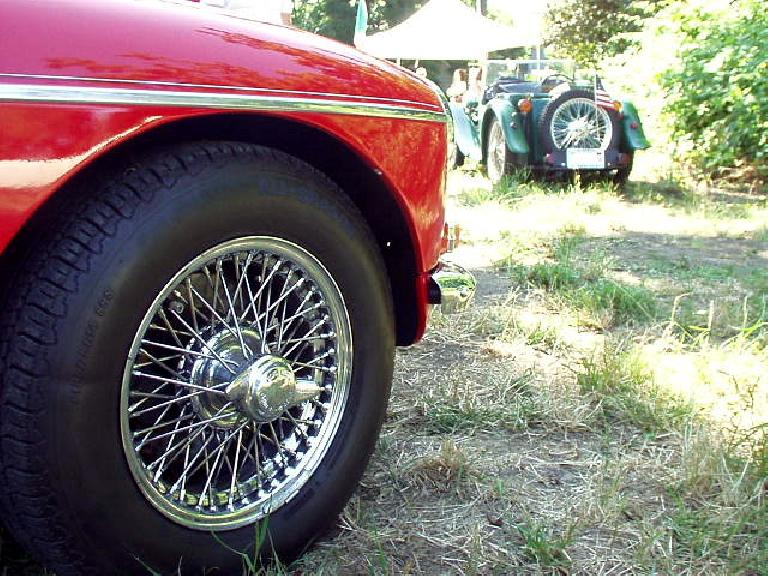 View of a sealed (tubeless) wire wheel with Dan Shockey's 1935 MG PA in the background.