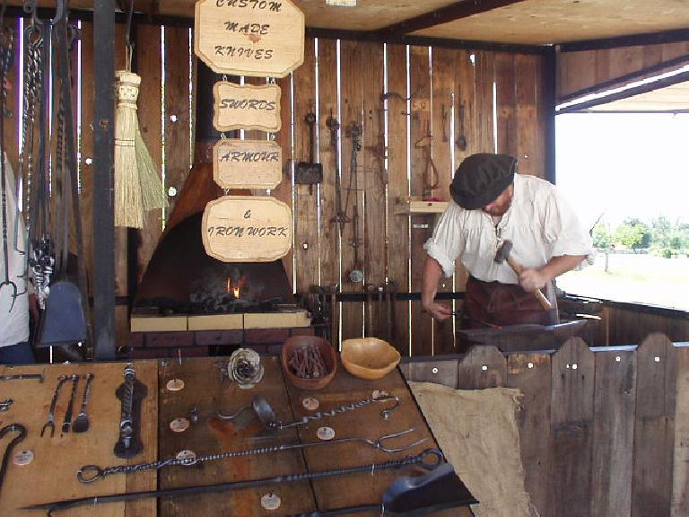 A blacksmith making some handy tools.