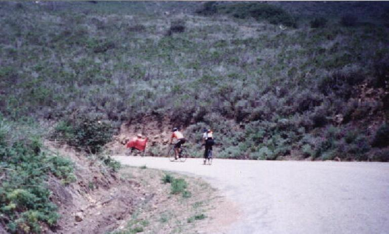 Following a recumbent rider and two other cyclists in the 1999 Central Coast Double Century.