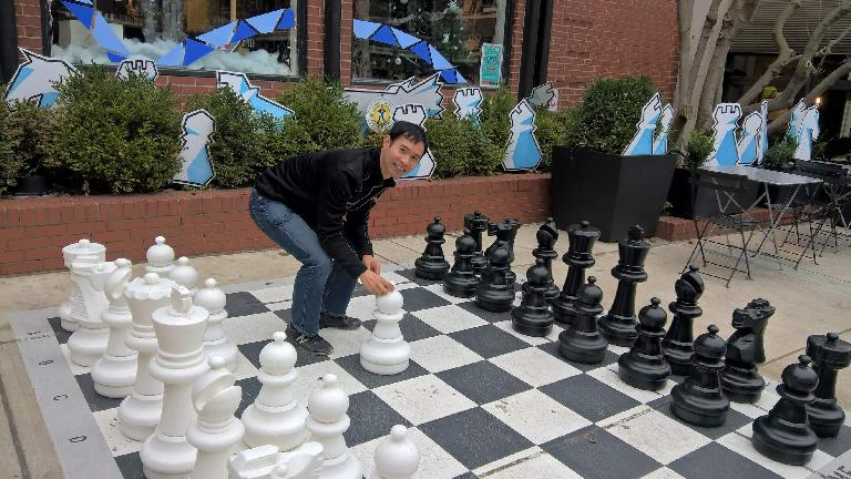 Felix Wong, giant chess board outside World Chess Hall of Fame
