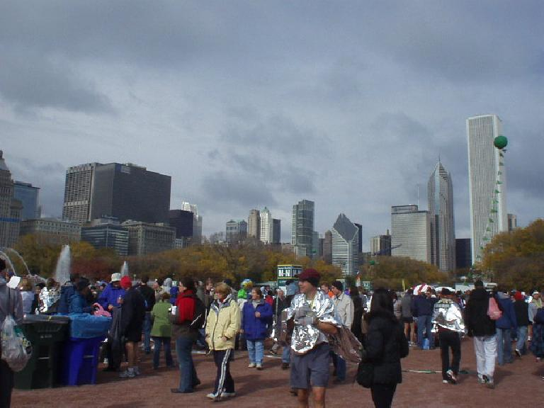 The Chicago skyline beyond the finish line of the Chicago Marathon. (October 22, 2006)