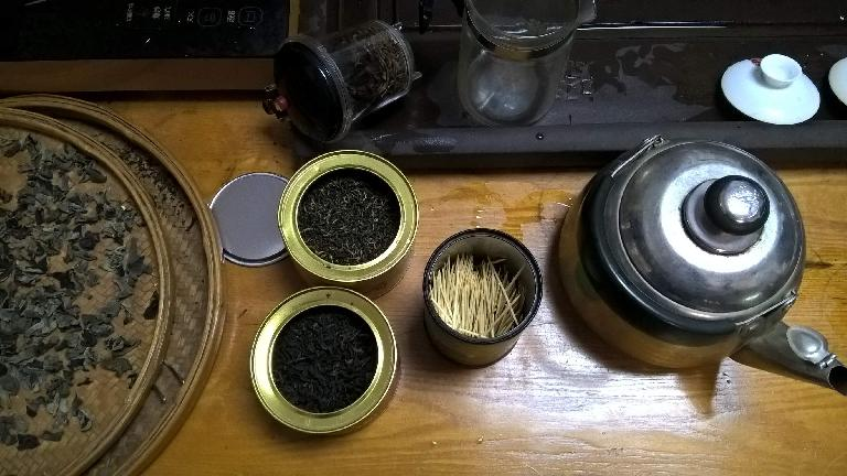 Chinese tea leaves and toothpicks. (April 17, 2016)