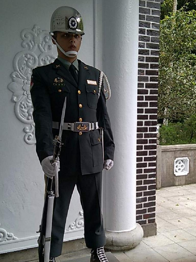 A guard at the Cihu Mausoleum.