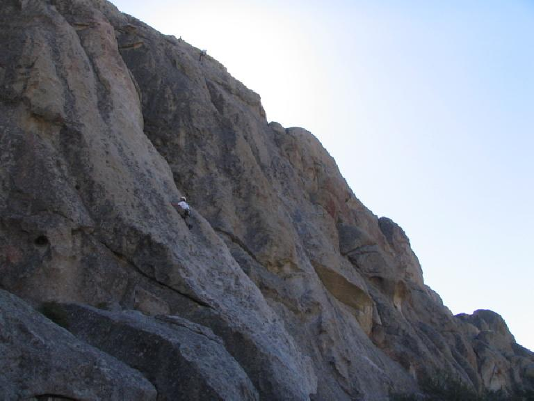"Felix Wong leading a 200-foot climb called ""Delay of Game"" on the west face of Parking Lot Rock. Photo: Tori."