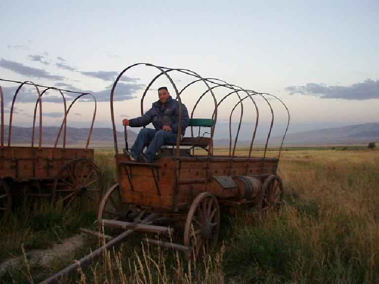 Chris on an old wagon.